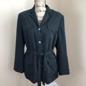 Talbots Black Belted Button Front Jacket NWT 14 P